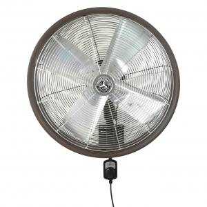 TEXTURED BROWN SHROUDED OUTDOOR WALL MOUNT OSCILLATING FAN