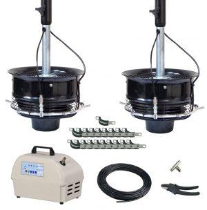 2 Ceiling Mount CentrMist Fans with 12 Nozzle Capacity Pump Package